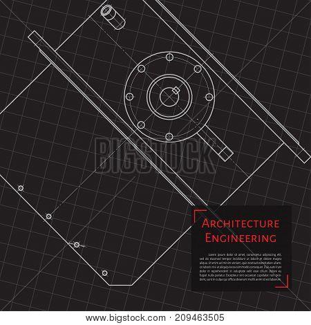 Vector technical blueprint of mechanism. Engineer illustration