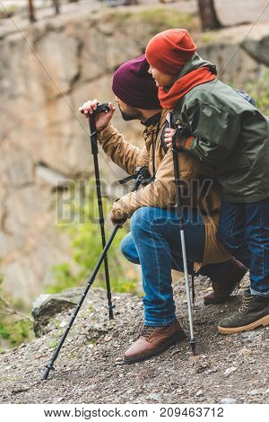 Father And Son Trekking Together