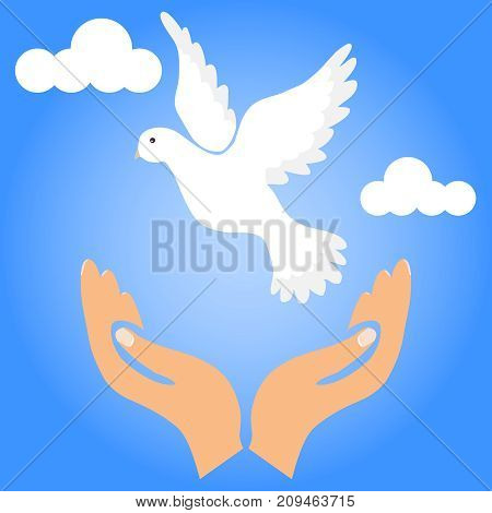 The dove of the world flies out of the hands. Release the dove of the world. Flat design, vector illustration, vector.