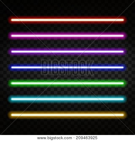Neon light. Colorful neon tubes isolated on transparent background. Neon brushes. Vector