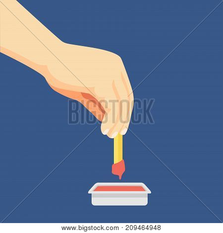 Flat design of Hand dipping French Fries in ketchup - Vector Flat Design