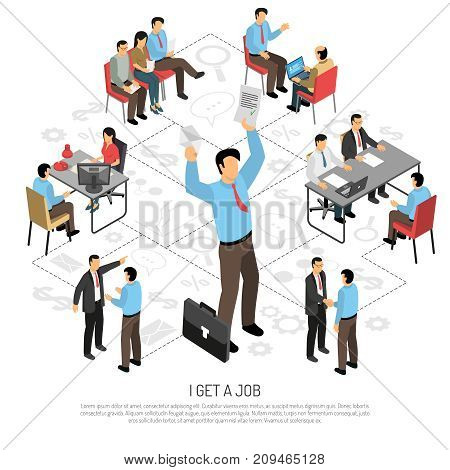 Job interview conceptual composition with images of human character passing different stages of recruiting with text vector illustration