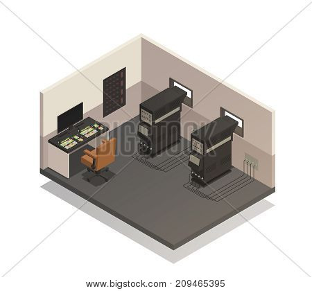 Empty cinema room for projectionist isometric composition with sound control panel and projectors 3d vector illustration