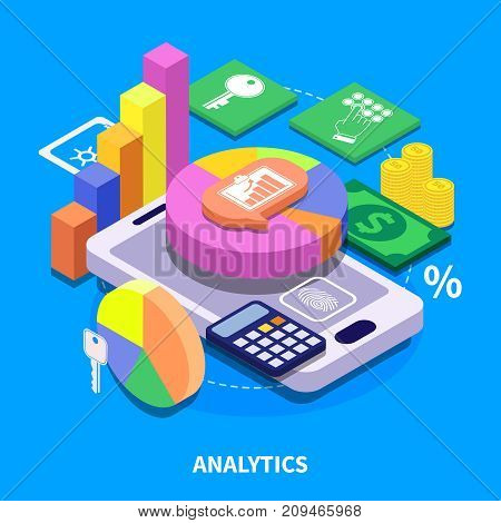Analytics concept with colorful 3d diagrams presenting financial security data isometric vector illustration