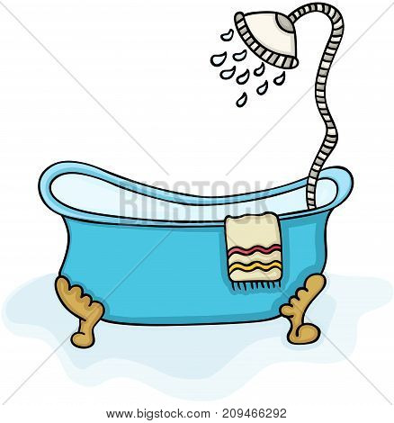 Scalable vectorial image representing a bathtub with shower, isolated on white.