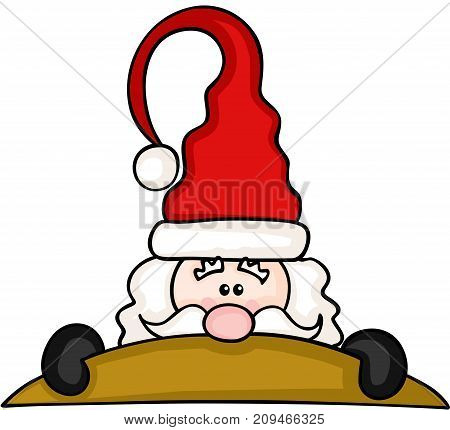 Scalable vectorial image representing a Christmas Santa Claus Peeking, isolated on white.