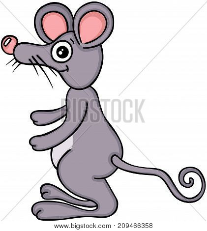 Scalable vectorial image representing a cute cartoon mouse, isolated on white.