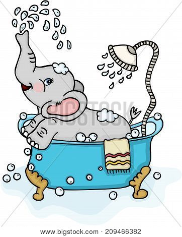 Scalable vectorial image representing a cute elephant taking a bath, isolated on white.