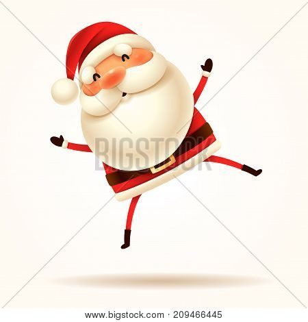 Santa Claus jumping with excitement. Vector illustration of Santa Claus on white background. Isolated.
