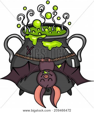 Scalable vectorial image representing a happy bat hanging halloween cauldron, isolated on white.