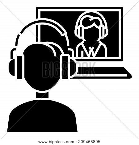 interview online - online study - school icon, illustration, vector sign on isolated background