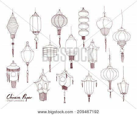 Set of Chinese paper street lanterns of different types and sizes hand drawn with contour lines. Bundle of traditional asian festival decorations isolated on white background. Vector illustration