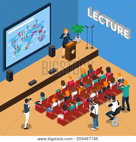 Lecture isometric composition with orator near tribune, people in auditorium, screen and loudspeakers, photo reporters vector illustration