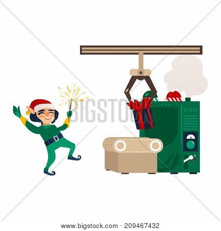 vector flat cartoon christmas elf boy dancing or jumping smiling raising hands up with sparkler in christmas santa hat near gift factory machine conveyor. Isolated illustration on a white background