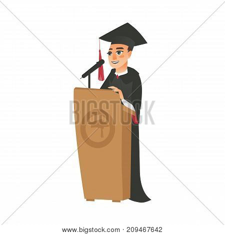 vector flat cartoon male college, university happy graduate character, boy in graduation gown, cap holding diploma speaking in microphone at tribune. Isolated illustration on a white background.
