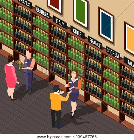 Isometric wine shop composition with alcoholic store interior shelves with bottles assistants and customers human characters vector illustration