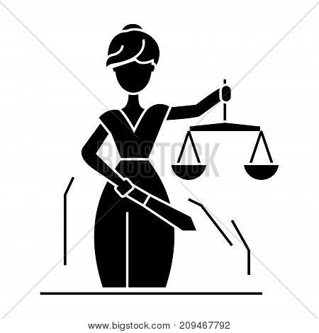 justice statue icon, illustration, vector sign on isolated background