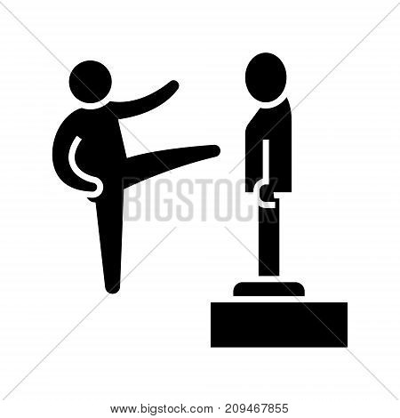 karate - martial arts - kung fu - tae kwon do icon, illustration, vector sign on isolated background