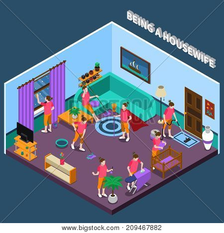 Housewife during work including washing floor and window, ironing linen and child care isometric composition vector illustration