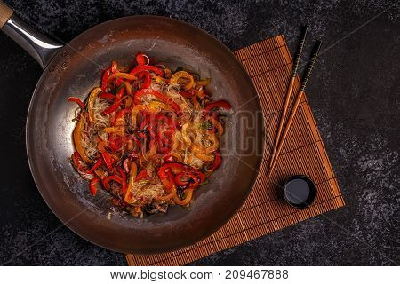 Cooking Asian Wok With Stir Fry Noodles And Vegetables