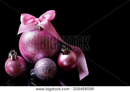 Christmas Balls Isolated On Black Background, Free Space.