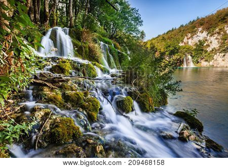 Beautiful waterfall in the upper lakes area in Plitvice Lakes National Park, Croatia