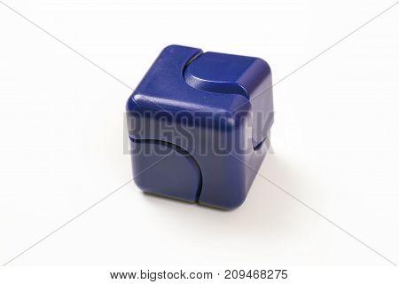 Blue Fidget Spinner isolated on white background