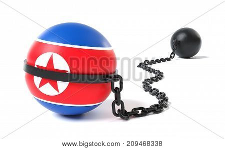 North Korea hold back by a Ball and Chain restraint device