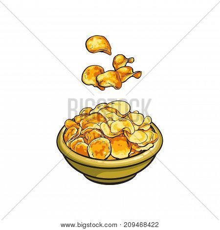 vector sketch cartoon yellow potato fluted a chips falling into ceramic plate. Isolated illustration on a white background. Crispy and crunchy fast food object