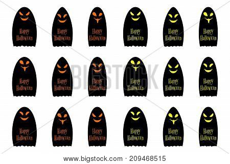 Halloween ghost with inscription Happy Halloween set of vector black ghosts halloween holiday elements of decoration in orange and yellow color