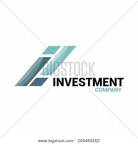 Vector logo template for investment or credit company. Finance logotype creative design. Illustration of letter I.