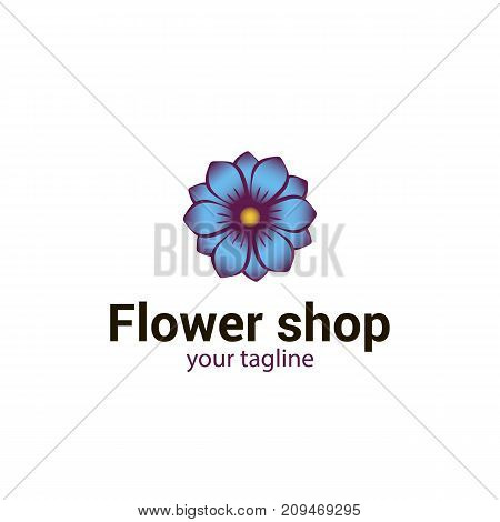 Vector logo template for flower shop or store spa floral atelier boutique beauty salon isolated on white background. Flower icon in blue color. Can be used for design of banners. EPS10. Creative logotype.