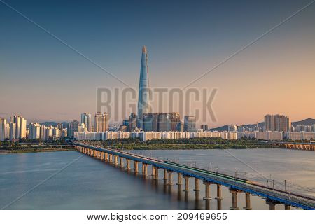 Seoul. Cityscape image of Seoul and Han River during sunset.
