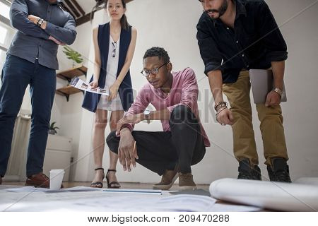 Diverse business people working