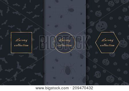 Collection of vector luxury backgrounds for Halloween with crawling spiders, carved pumpkins and bats.
