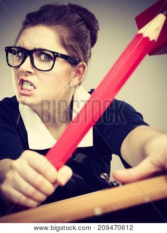 Angry Mad Business Woman Being Furious