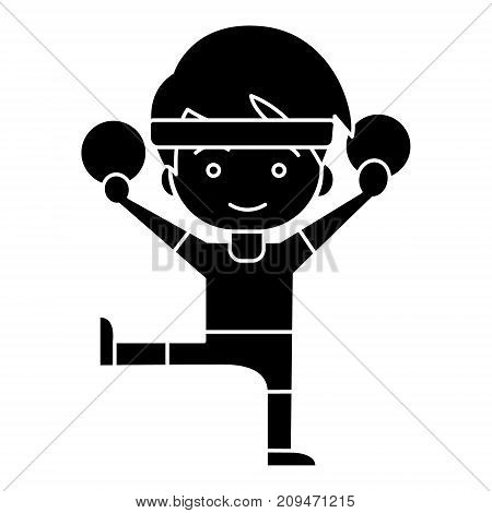 man aerobics - workout - gymnastics rings icon, illustration, vector sign on isolated background