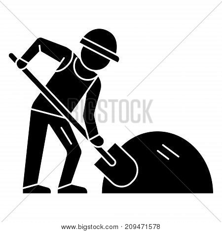 man builder working with shovel icon, illustration, vector sign on isolated background