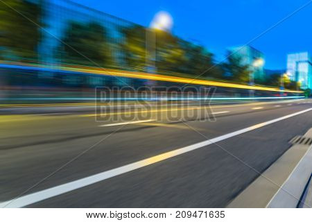 light trails in the downtown district china.