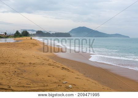 Yellow Sand On The Shores Of The Andaman Sea, Waves In Thailand