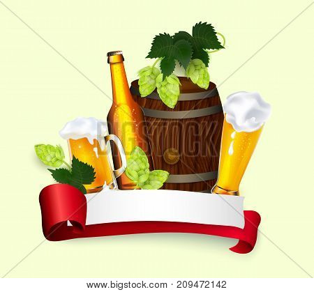 vector poster, banner with free space for text with mug, glass bottle barrel of golden lager beer with hop leaves, cones. Ready for design mockup template. Isolated illustration on a white background.