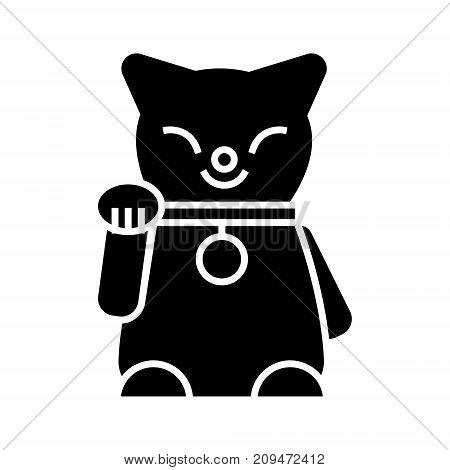 maneki neko icon, illustration, vector sign on isolated background