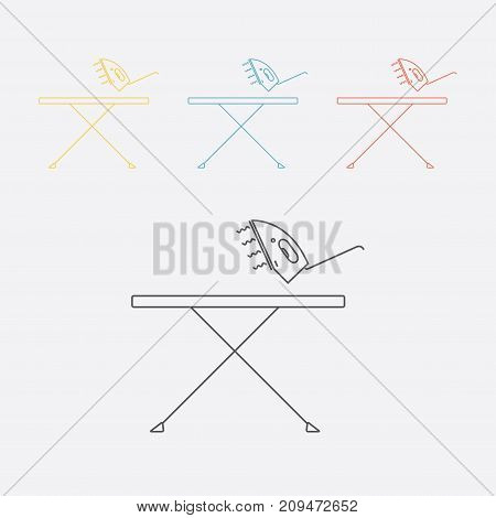 Ironing board and iron. Line icon. Vector sign for web graphics.