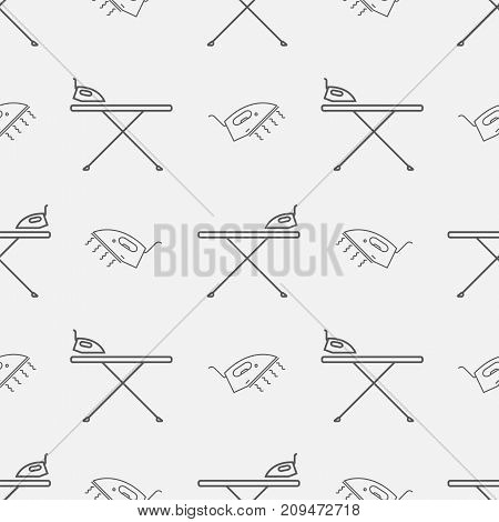 Iron board and iron. Seamless pattern Vector sign for web graphics.