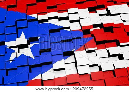 Puerto Rico flag background formed from digital mosaic tiles, 3D rendering