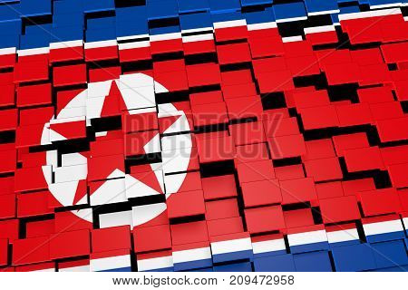 North Korea flag background formed from digital mosaic tiles, 3D rendering