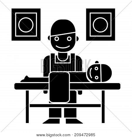 masseur - chiropractor icon, illustration, vector sign on isolated background