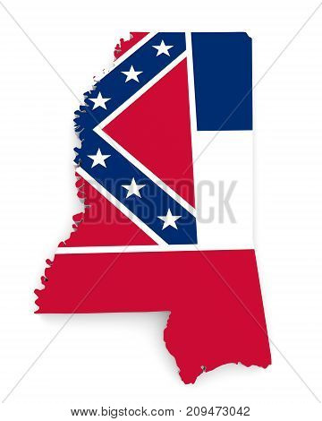 Geographic border map and flag of Mississippi state isolated on a white background, 3D rendering