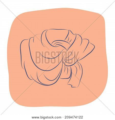 Realistic scarf or shawl. Women fashion accessories. Contour object on an orange background. Vector sketch illustration in hand drawing style for your design. EPS10 format.