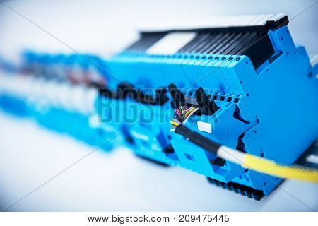 Electric device with wires attached to it. Industrial close-up shot. Railway industry